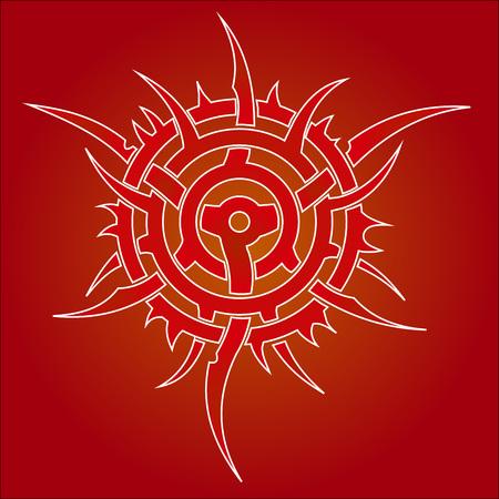 Rond en tribal ornament Stock Illustratie