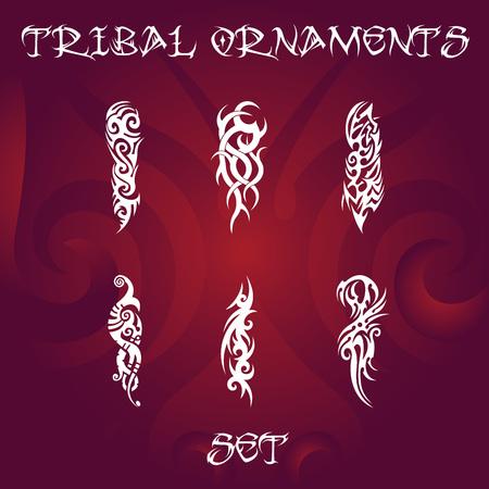Tribal design and tattoo ornaments set