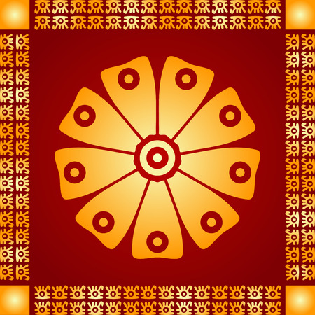 Golden symbolic vector ornaments of American native Indians, Aztec and Maya Ilustração