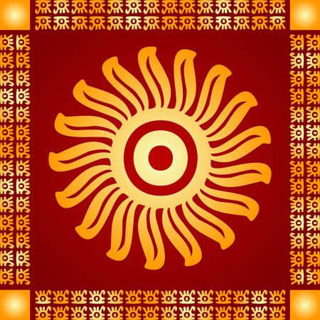 Gouden symbolische vector ornamenten van Amerikaanse Indiase Indianen, Azteek en Maya