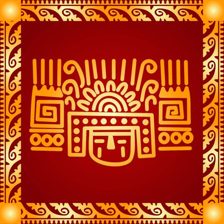 Golden symbolic vector ornaments of American native Indians, Aztec and Maya