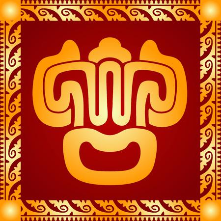 mayan culture: Golden symbolic vector ornaments of American native Indians, Aztec and Maya Illustration