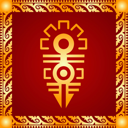 Golden symbolic vector ornaments of American native Indians, Aztec and Maya 向量圖像