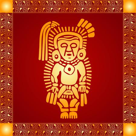 미국 네이티브 인디언, 아즈텍 및 마 야의 황금 상징적 인 벡터 장식품 일러스트