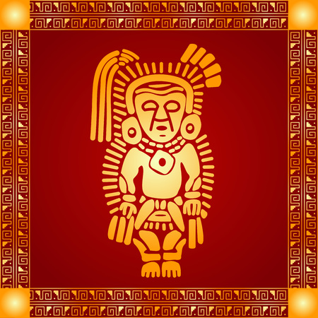 Golden symbolic vector ornaments of American native Indians, Aztec and Maya Çizim