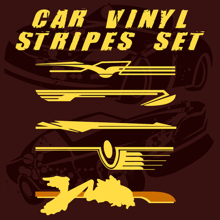 Tribal and cool Car stripe set top print on vinyl and adhesive on vehicle Illustration