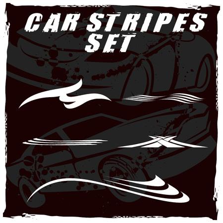 部族とクールな車のストライプ ビニールや車両に接着剤のトップの印刷の設定