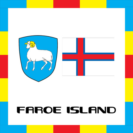 all european flags: Official government ensigns of Faroe Island Illustration