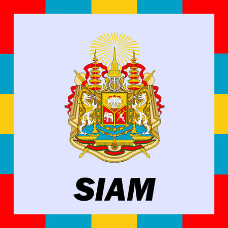 Official ensigns, flag and coat of arm of Siam