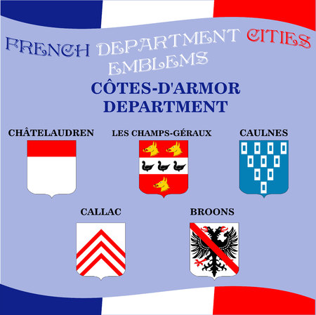 cotes d armor: Official emblems of cities of French department Cotes D Armor Illustration
