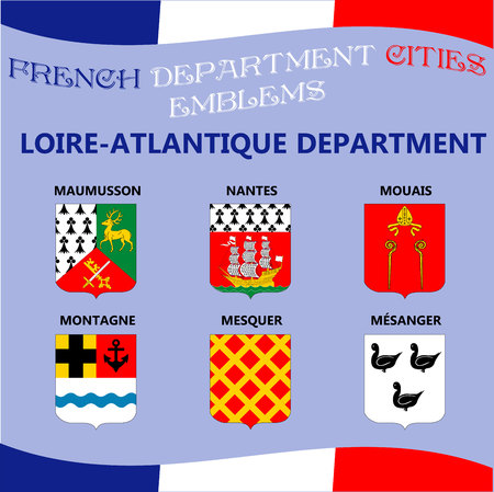 Flags and emblems of French department cities. Cities of Department Loire Atlantique
