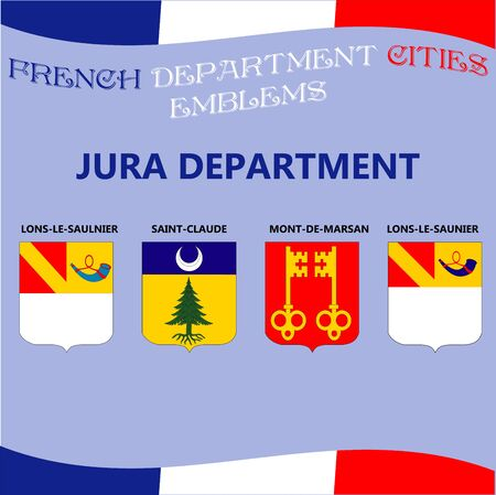 Flags and emblems of French department cities. Cities of Department Jura