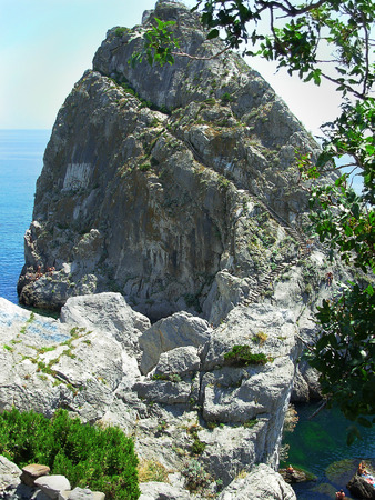 steep cliff: steep cliff into the sea from upstairs trail