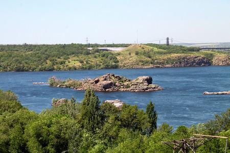 the dnieper: island on the Dnieper River in Zaporizhia in Ukraine
