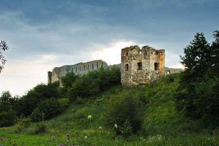 loopholes: ruins of an old  Pniewski castle in Ukraine Stock Photo