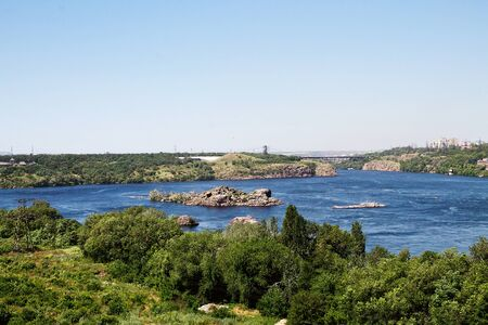 dnieper: Dnieper River with the islands in Zaporozhye
