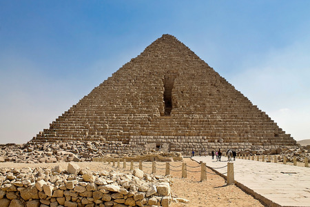 cheops: Great Pyramid of Cheops at Giza in Egypt Stock Photo