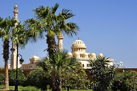 hurghada: Mosque among palm trees in Hurghada, Egypt