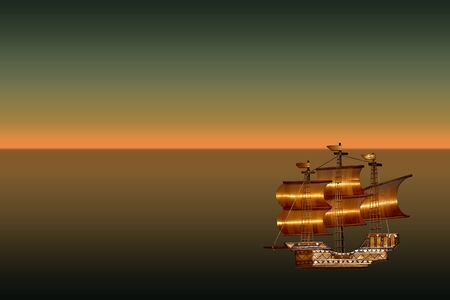 brig ship: picture with a sea view and a ship
