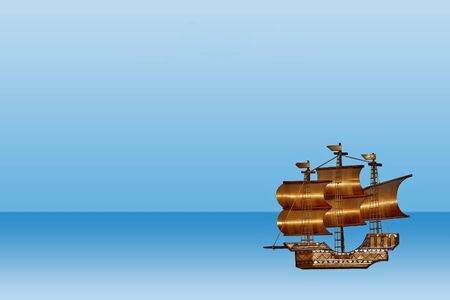 brig: picture with a sea view and a ship