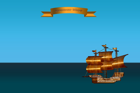 brig ship: background with a sea view and a ship Stock Photo