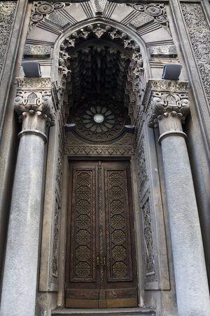 house of worship: door of a house of worship Karaites  in Kiev made in  Moorish style Stock Photo