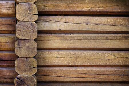 Teil einer Wand aus Licht Holzhütten hautnah