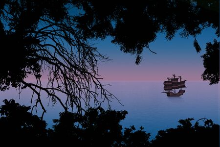 pink sunset: pink sunset sea with a sailboat and silhouettes of trees