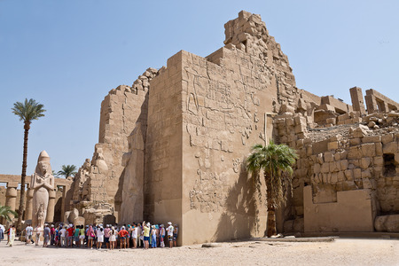 temple: part of the dilapidated walls of Luxor Temple