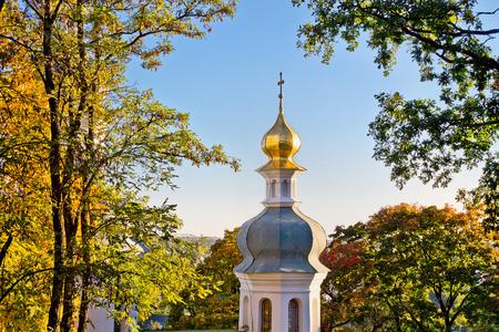 11th century: Ilyinsky Monastery of the 11th century among the autumn trees in Chernigov, Ukraine