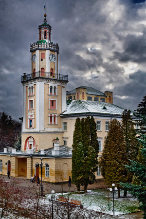 old town hall: old town hall in Sambor, Ukraine, cloudy winter day