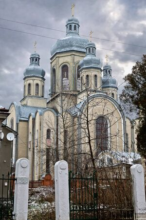 overcast: The Orthodox Church in Western Ukraine overcast winter day