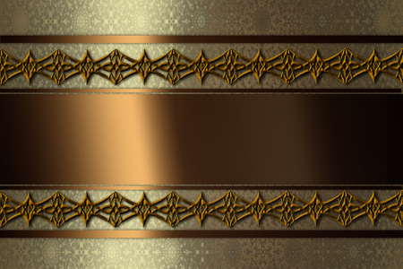 brown stripe: shiny gold background with a pattern and a brown stripe Stock Photo