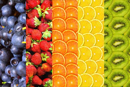 kiwis: background of oranges, lemons, kiwis, blueberries and strawberries closeup