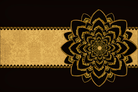 jeweled: black and gold background with jeweled flowern