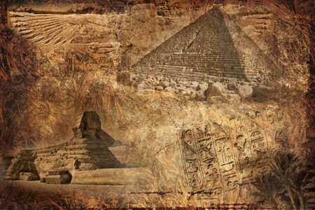 vintage collage with the Egyptian pyramids and the Sphinx