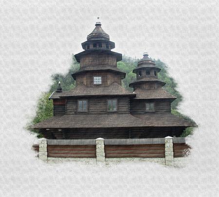 imitations: Elias wooden church in Yaremche, Ukraine. Imitation painting.
