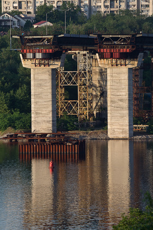 uncompleted: unfinished bridge across the Dnieper River in Kiev, Ukraine Stock Photo