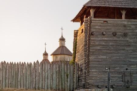 cossacks: entrance tower and the Church in Zaporizhzhya Sich, Ukraine Stock Photo