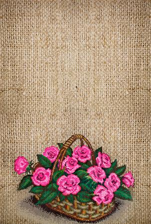Sfondo di tela verticale ricamato con un cesto di rose rosa e copia spazio Archivio Fotografico - 81697710