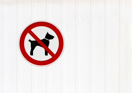 Signpost showing a no dogs symbol. photo