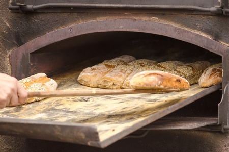 woodfired: Detail of fresh traditionally baked bread.