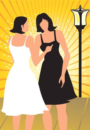 Silhouette of two ladies standing in yellow beam light  photo