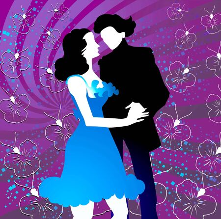 homosexual couple: Silhouettes of couple dancing in floral background