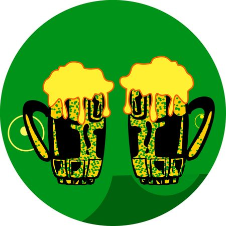 Illustration of two overflowing beer glasses  illustration