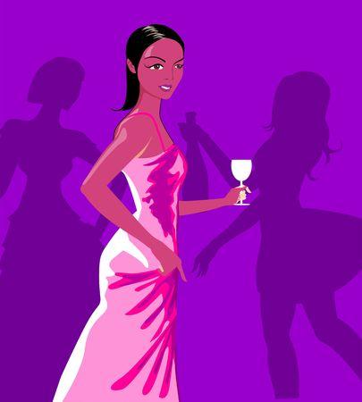 Señora bailando con una copa en mano en el partido  Foto de archivo - 3388230