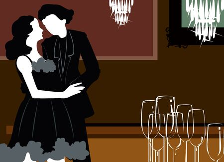 homosexual couple: Silhouette of couple dancing under chandelier light