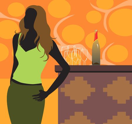 Illustration of sexy lady standing near table with wine bottle illustration