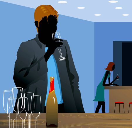 man standing alone: Silhouette of man standing alone in a party  with drink in hand