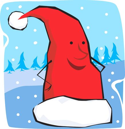 santa clause hat: Illustration of a Santa clause hat in winter